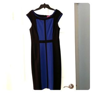Betsey Johnson Size 6 Fitted Blue and Black Dress